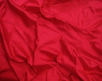 silk fabric - carmine red 100% pure silk - fat quarter - sld122