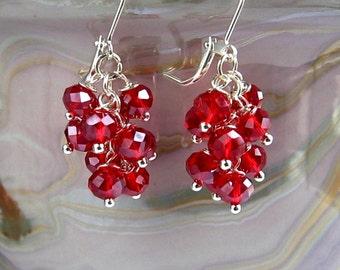 Red Crystal Cluster Earrings Red Cluster Earrings Red Earrings