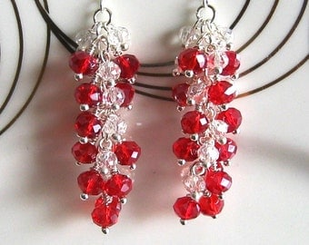 Long Silver and Red Crystal Cluster Earrings Red Cluster Earrings Red Earrings