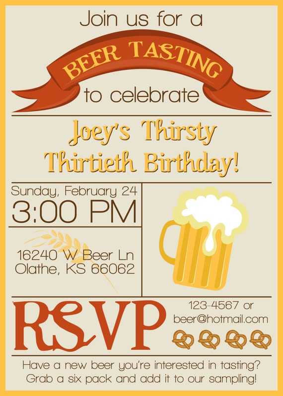 Items similar to Beer Tasting Invitation BEER TASTING PARTY on Etsy