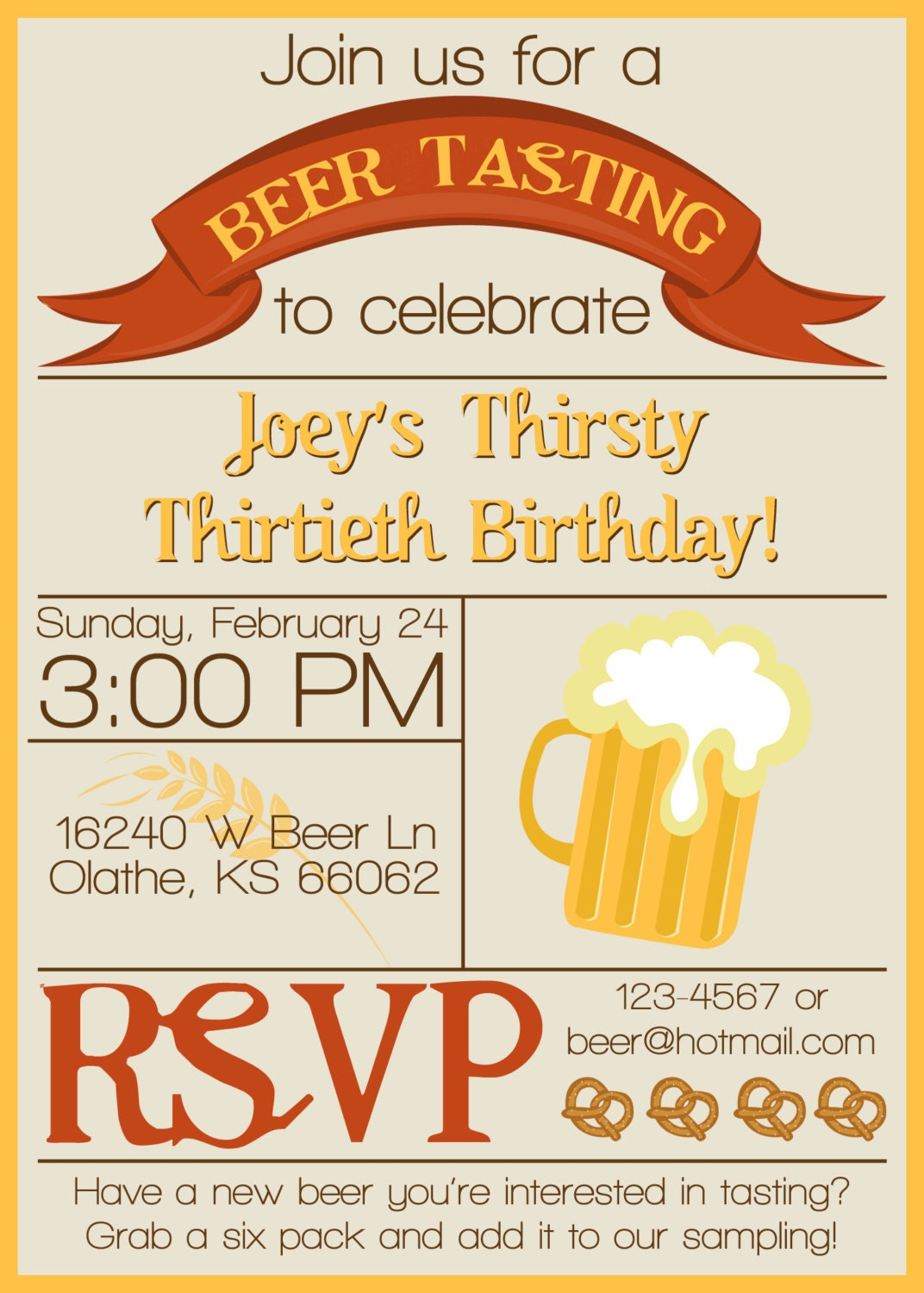 Beer Tasting Birthday Party Invitations images – Beer Party Invitations