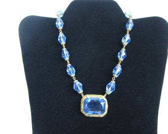 On Sale CZECHOSLOVAKIA Necklace/  Antique Blue Art Glass Necklace / czech jewelry