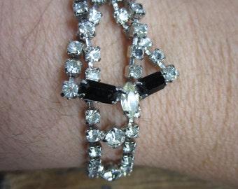 1960s Rhinestone Bracelet/ Clear and Black rhinestone Bling Bracelet
