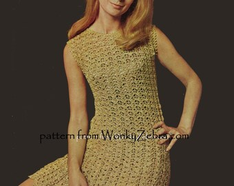 Vintage PDF Gold Crochet Dress Pattern 607 from WonkyZebra