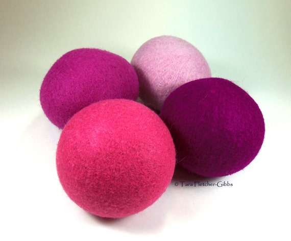 Wool Dryer Balls - Pretty in Pink - Set of 4 - Eco Friendly - Can Be Scented or Unscented