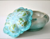Vintage jewelry dish - ceramic hand painted blue flowers