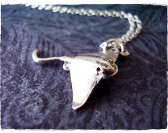 Silver Stingray Necklace - Sterling Silver Stingray Charm on a Delicate Sterling Silver Cable Chain or Charm Only