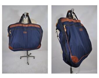 vintage ll bean bag canvas duffle LARGE bag vintage duffel bag carry on weekender garment bag