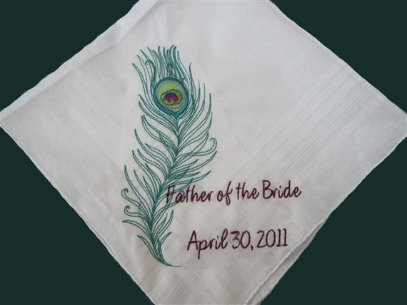 Your Peacock Wedding Gift Hankie, Wedding Embroidery. Custom Personal Gift handkerchief for your Bridal Party