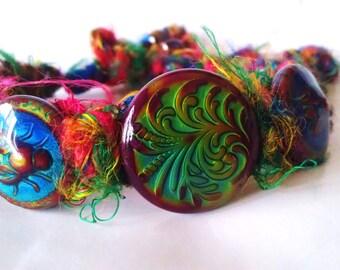 Bohemian Modern Tribal Recycled Silk Colour Changing Rainbow Chakra Bracelet