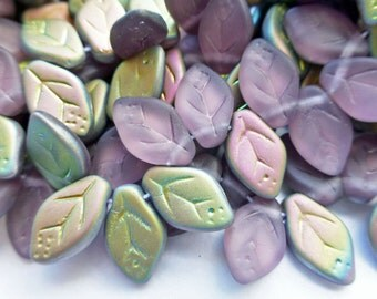25 Czech Glass Leaves in Amethyst Vitrail Matte AB  Size 12x7mm