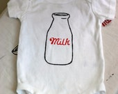 Wee little onesie for Kitschy Kids, Retro Milk Bottle Screen Print Infant Diaper Shirt 3m