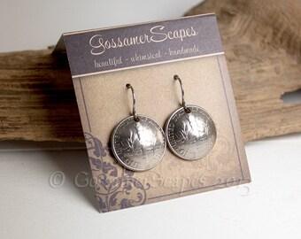 Dime Earrings, coin jewelry, silver, surgical steel, dangle earrings, SALE