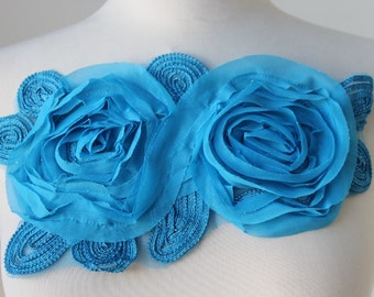 Cute  embroidered flower applique blue     color