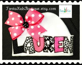 Newborn girl hat, baby girl hat, girls hats, personalized girl hat, baby clothes, infant beanie, baby shower gifts, hospital baby hat
