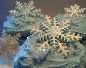 Cake Decorations Edible Snowflakes Large Size Gum Paste Blue and White