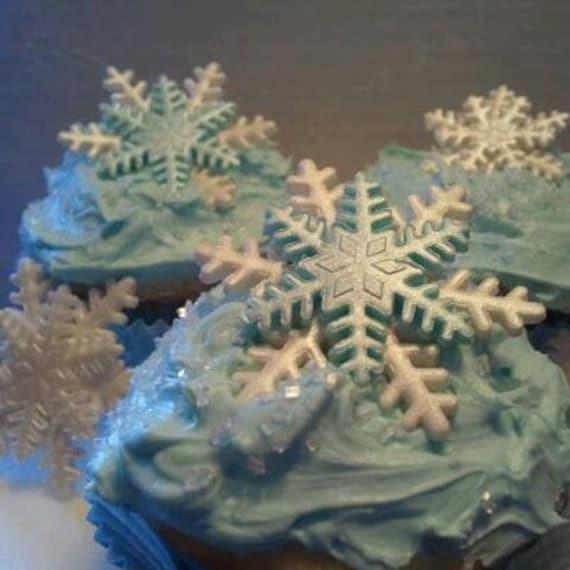 Cake Decorations Edible Snowflakes Large Size Gum Paste Blue
