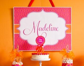 Pink and Orange Printable Custom Name Poster
