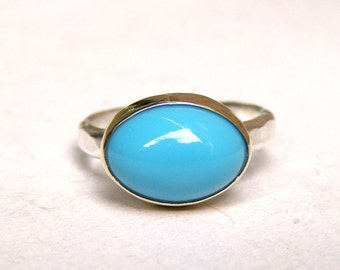 Turquoise ring, Silver sterling ring,  silver sterling band and 14k yellow gold , Made to order