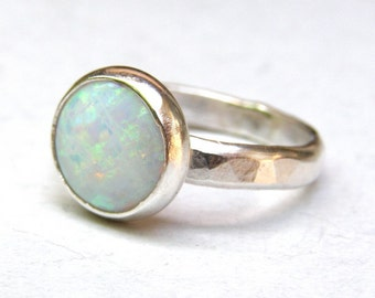 White Opal ring ,Statement ring ,925 Silver ring, Solitaire Ring, Stackable rings, Anniversary Rings, Promise Rings, Hammered Silver bands