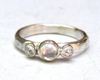 Similar diamond ring ,wedding ring, Engagement Ring ,white Topaz ring, Anniversary gift, Gift for her,  Made to order