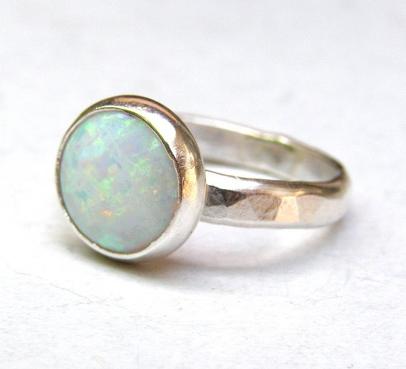 white opal ring statement ring 925 silver ring solitaire