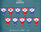 Top Gun Banner. F14 Fighter Jets. Red White Blue Stars. Maverick. Happy Birthday Printable DiY Party BANNER by Tipsy Graphics.