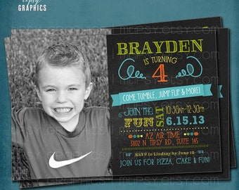 Tumble, Jump Flip & More. Photo Chalkboard Trampoline Bounce House or Little Gym Birthday Party Invite by Tipsy Graphics