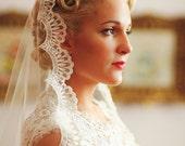 Wedding Veil - Handmade Chapel Lace Bridal Mantilla Ivory or White - made to order