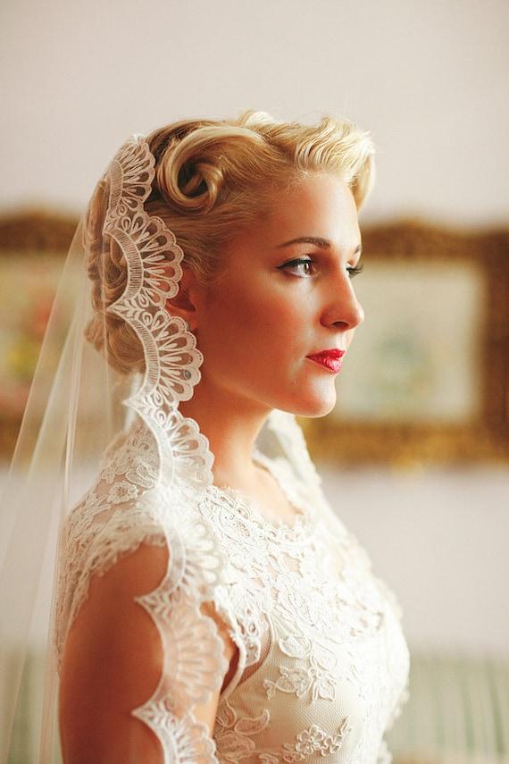 Wedding Veil Handmade Chapel Lace Bridal Mantilla By