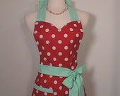 Womens Apron Vintage Inspired Polka Dot full Apron with Rick Rack fully lined Red Mint Mothers Day Gift