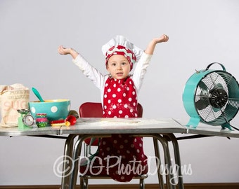 Chef Hat adjustable toddler -Youth- made to order red and white Polka dot -mint rick rack- Mommy and Me