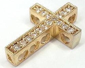 2 pcs 14x22mm clear  CZ Cubic Zirconia  with gold color Sideways Cross charm