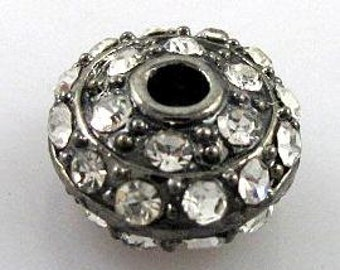 5pcs clear crystal with gun metal roundel pave ball