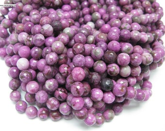 37 pcs round faceted purple agate beads