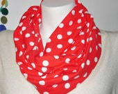 Knit Infinity Scarf  RED and White Polka Dot