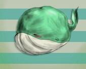 SALE Tubby Sketch Whale Original Professional Matte or Glossy Art Print ,japanese,style,beach,ocean,whale,chibi,cute