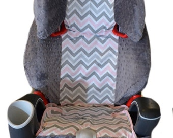 Shabby Chic Pink And Gray Giraffe Car Seat Cover