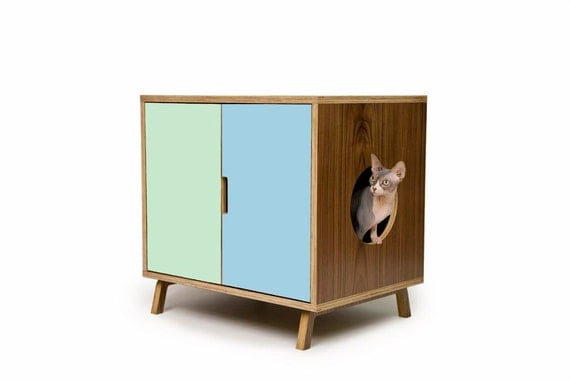 Standard cabinet mid century modern pet by modernistcat on etsy - Modern cat litter box furniture ...