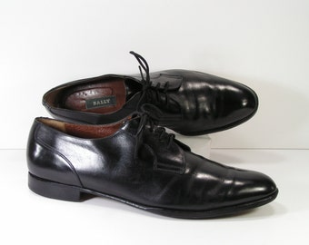 bally oxford dress shoes mens 13 B black brouge lace up leather italy