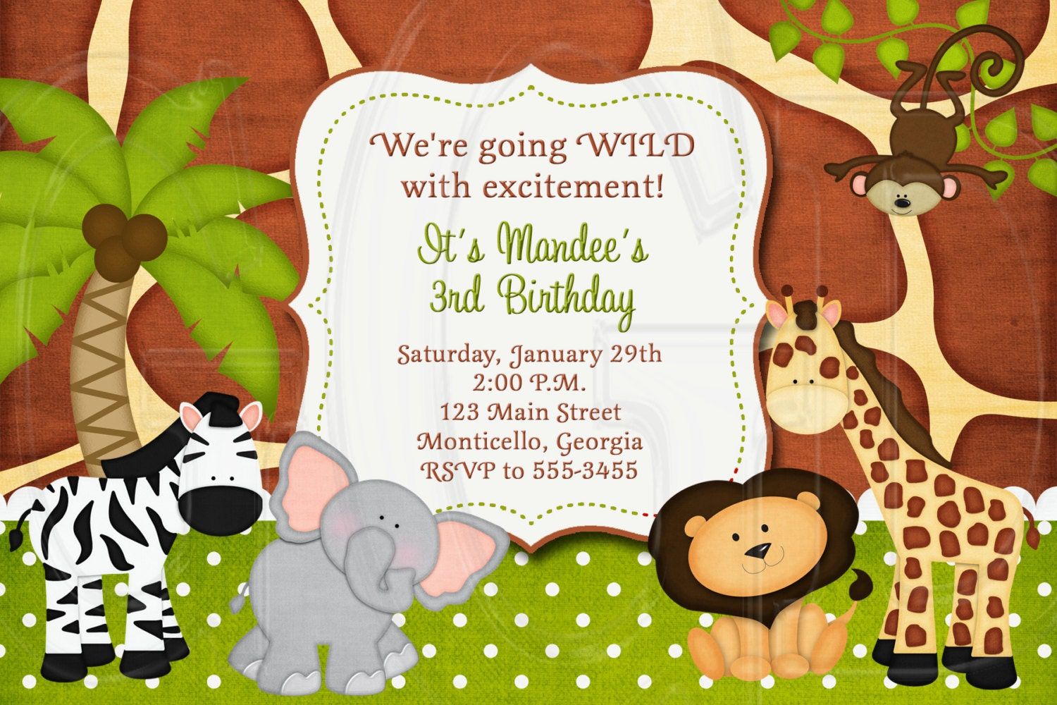 Jungle zoo safari birthday invitation or baby shower for Baby shower party junge