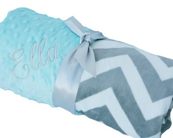 Lovey Gray and White Minky Chevron Baby Blanket with Blue Dot Minky Back Personalization Included
