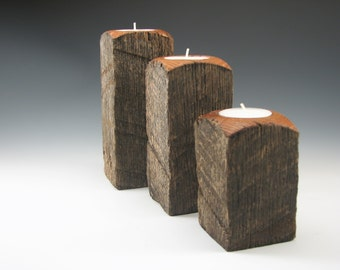 Rustic Oak Tea Light Set - Housewarming Gift - Wedding Gift - Rustic Art - Wood Art