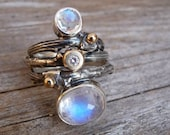 Sterling Silver twig ring with Rainbow Moonstone.Made to Order
