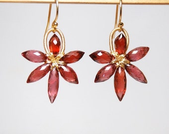 Grade AA-AAA garnet, January birthstone earrings, slim flower 14K gold filled earrings