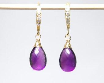 Amethyst earrings, February birthstone earrings, genuine grade AAA gemstones earrings, real natural gemstone