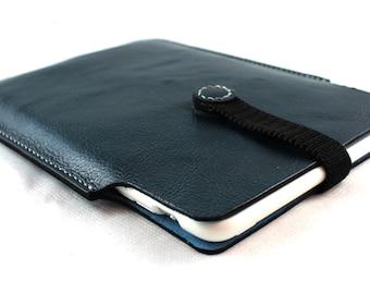 SALE {sample item} Hand stitched iPad MINI leather sleeve in Deep Indigo