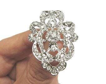 5 Crystal Rhinestone Buttons - Wedding Hair Accessories Invitation Card Garter Gift Box  RB-124 (36mm or 1.4inch)