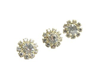 20 Small Crystal Gold-plated Rhinestone buttons RB-084G for Wedding Invitation Card Scrapbooking Hair Accessories (12mm or 0.5 inch)