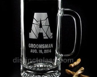 Gifts for Best Man Groomsman Glasses - FLAGSTONE MONOGRAMMED WEDDING Beer Mugs  - 16 oz Etched Wedding Glasses - Ships to Canada